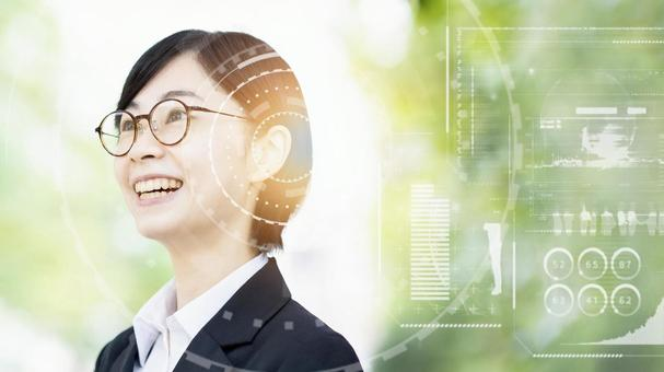 Image of business woman and business technology