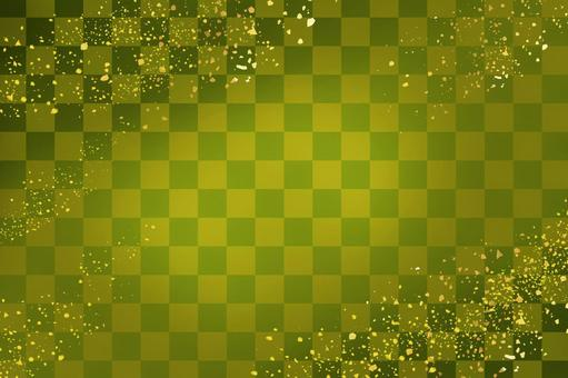 Matcha checkered pattern and gold powder are scattered