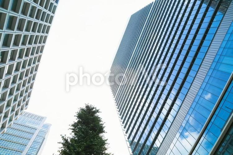 青空が映り込む高層ビルの写真