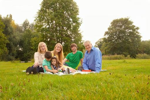 Relax on the lawn three generations of family 1