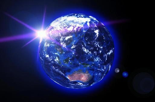 Japan-centered Earth and flare-black space background