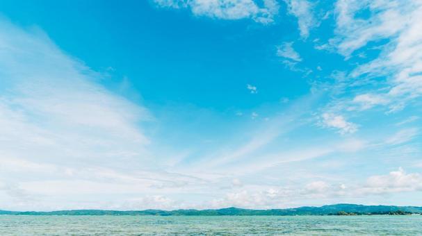 Okinawa's beautiful sea and blue sky
