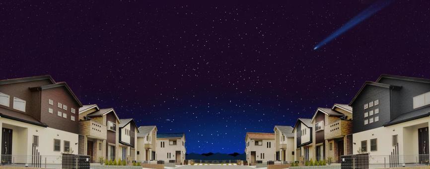 Detached residential area Night view material of condominium Skyscraper star