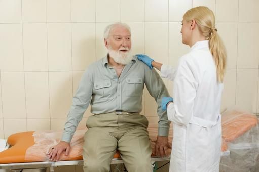 Foreign nurse female doctor examining with a foreign nurse male who is undergoing a gastroscope camera examination 13