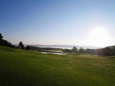 Early morning golf course where the morning sun rises Hokkaido