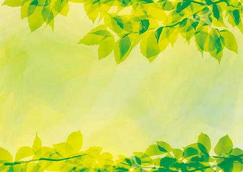 Leaf green frame watercolor illustration fresh green natural texture background free material