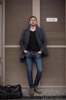 Male model 1 to pose in front of the door