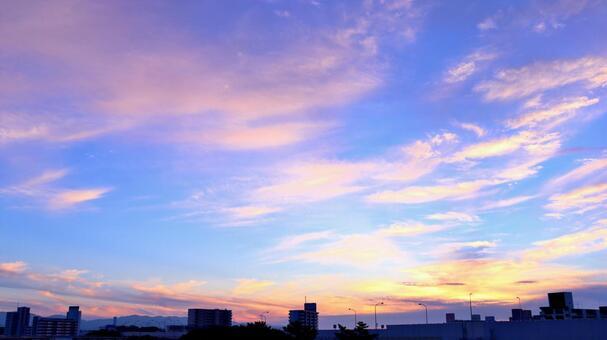 하늘 하늘 저녁 하늘 석양 오렌지 블루