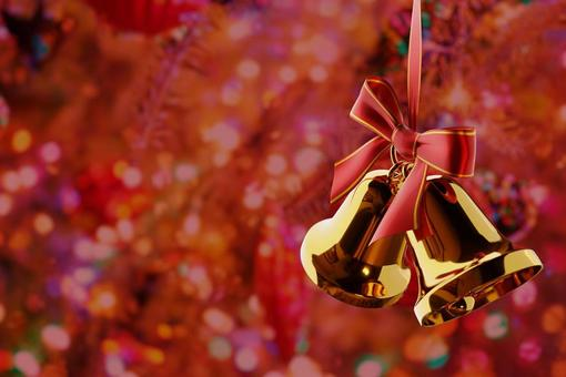 Glitter background and Christmas bell
