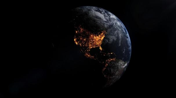 북아메리카 대륙의 일루미네이션. 우주에서 본 미국.