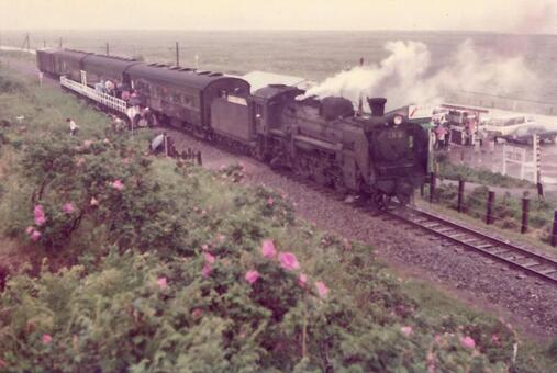 1970 년경의 원생 화원 역 증기 기관차 (홋카이도)