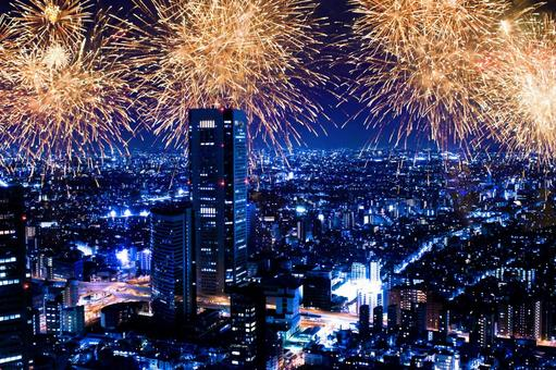 Fireworks festival in city night sky 2