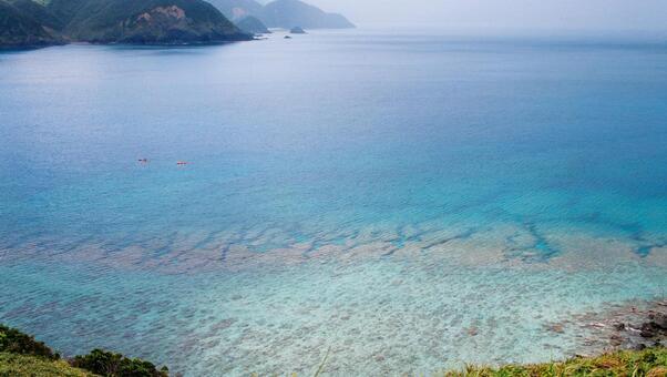 "Yamato Village in Amami Oshima Miyakozaki The sea seen from ""Sasanto"""