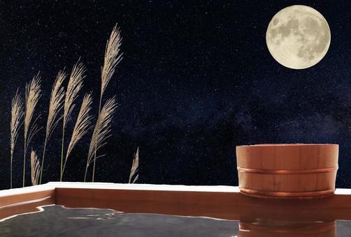 Full moon and open-air bath