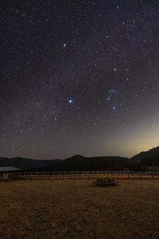 Nara Prefecture [Winter Milky Way (Orion, Winter Triangle) seen from Mitsue Kogen Ranch]