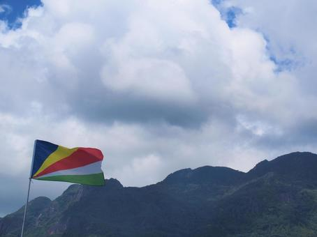 Republic of Seychelles Flag and Mountains