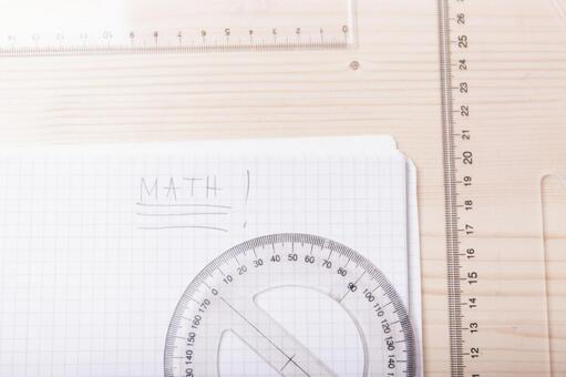 Protractor and triangle ruler and note