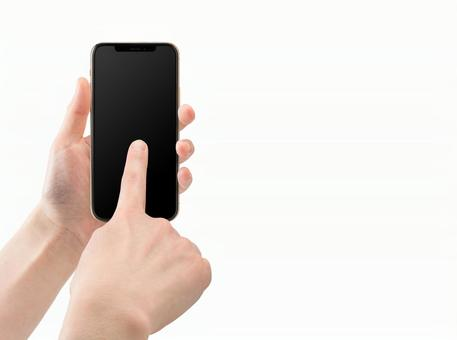 Touch the smartphone with the index finger (with screen mask, right hand separation, cutout PSD)