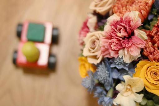 Children's toys and bouquets