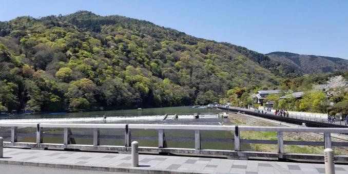 Arashiyama and Hozu River seen from Togetsu Bridge