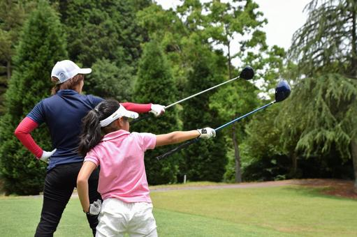 Parent and child golf image