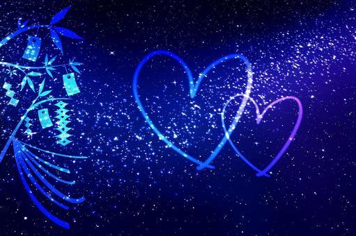 칠석 이미지 밤하늘과 하트