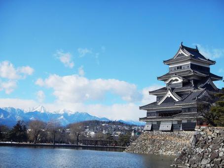 마츠모토 성과 산맥