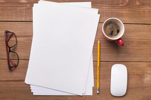 Writing utensils and glasses and coffee 1