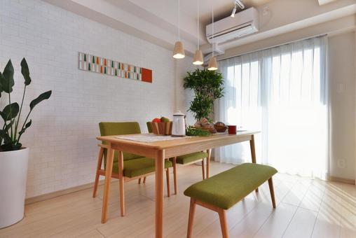 Dining table with natural interior