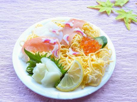 초밥과 분홍색 배경 1