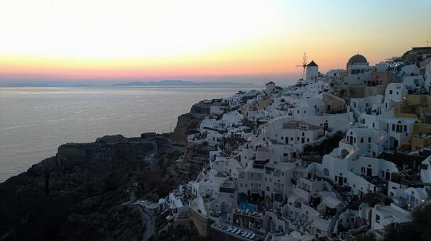 希臘聖托里尼島上的日落