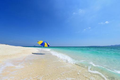 Okinawa beautiful sea beach umbrella