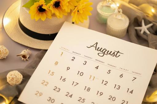 August calendar and sunflowers