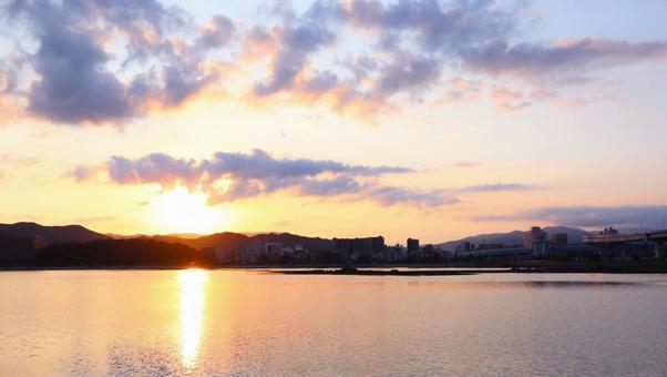 Sunrise New Year New Year's card Asahi Sea Sunlight Glitter Sky Morning Morning Sea Morning sunrise New Year First sunrise