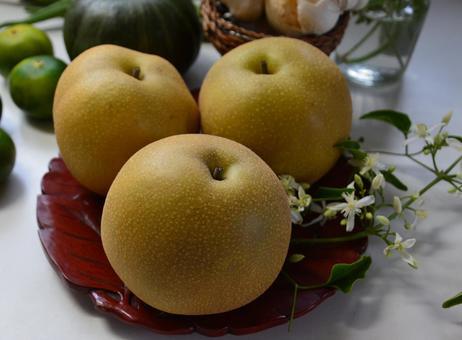 Pear on a tray