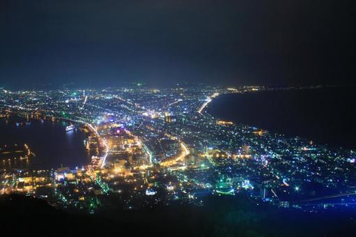 Hakodate mountain night view of rain