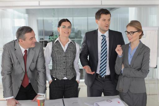 Business team to stand up and make a meeting 9