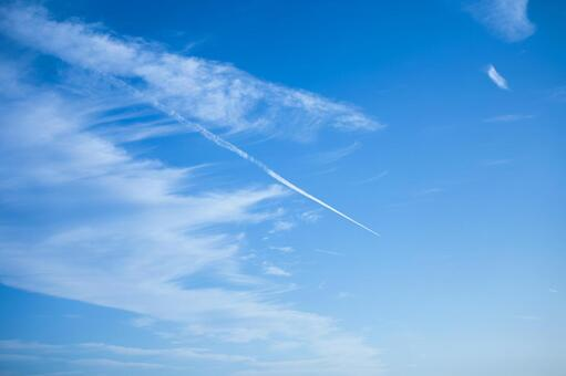 Blue sky and airplane cloud 3