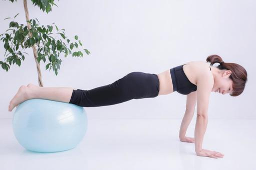 Balance ball and female