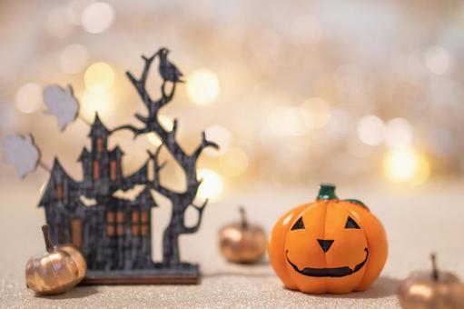 Halloween jack o lantern and glitter background