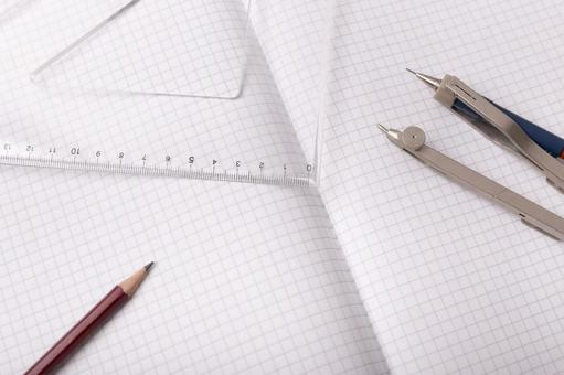 Pencil and triangle ruler, compass and note