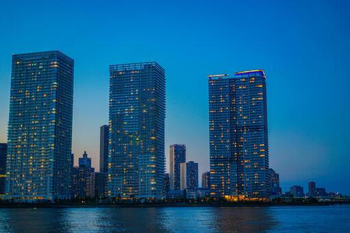 High-rise condominiums and evening view in Chuo-ku, Tokyo
