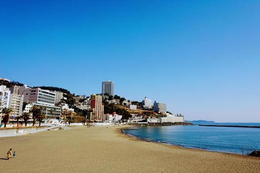 Atami Sun Beach and coastal buildings