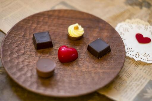 Valentine chocolate _ wooden plate _ heart felt