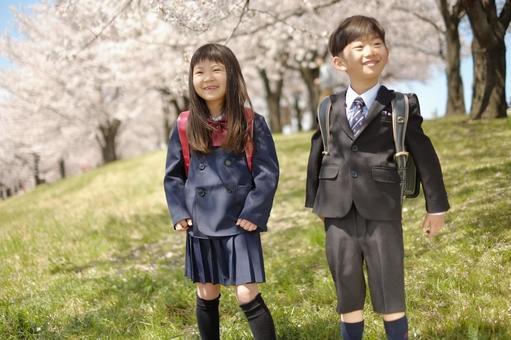 Elementary school boy and girl 10