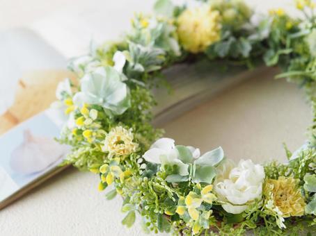 Spring-like flower wreath