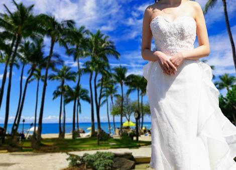 하와이에서 결혼식 신부