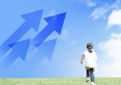 Running child and arrow image