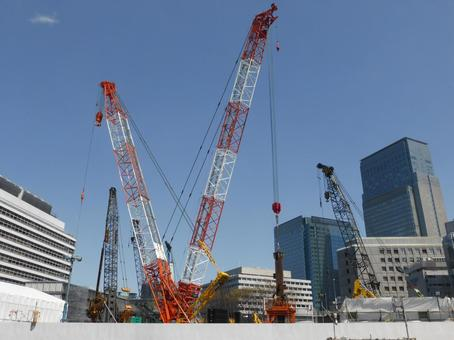 Construction site where cranes are active