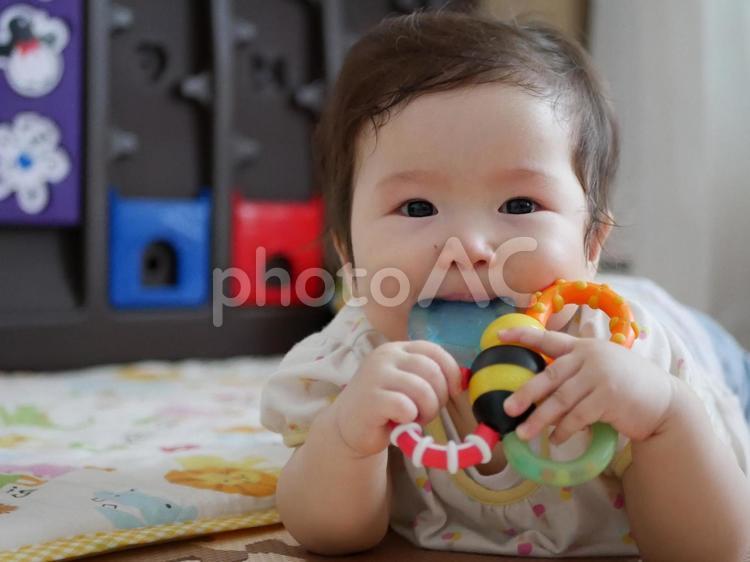 歯固めを噛んでいる赤ちゃんの写真